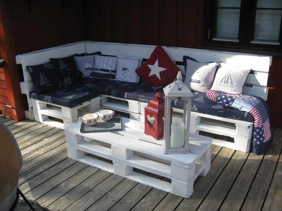 Use wooden pallets to build patio furniture.