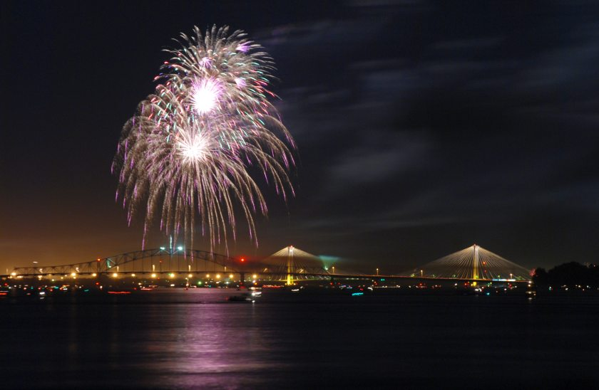 Fireworks over the Columbia River, 2007. Photograph by Scott Butner (licensed under Creative Commons).