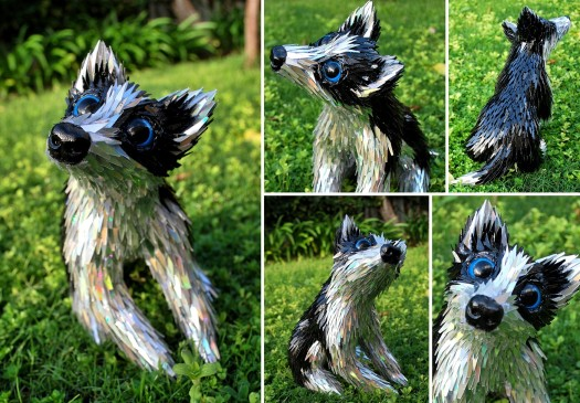 Husky made from recycled CDs by artist Sean Avery.