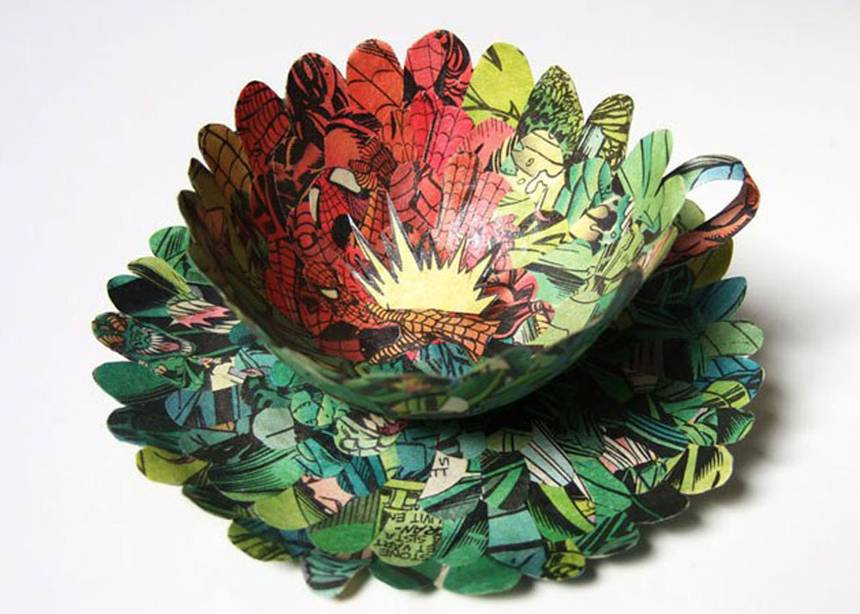 Paper cup and saucer made from repurposed Spiderman comic books by artist Cecilia Levy.